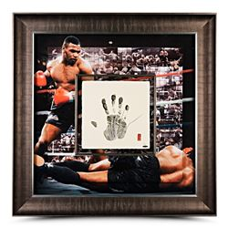 Mike Tyson Signed LE 36x36 Custom Framed Tegata Handprint Career Mosaic Display (UDA COA)