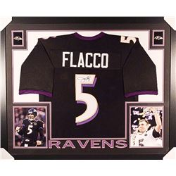 Joe Flacco Signed Ravens 35x43 Custom Framed Jersey (JSA COA)