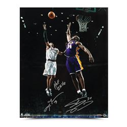 "Allen Iverson  Shaquille O'Neal Signed 16x20 Photo Inscribed ""Floater"" LE 34 (UDA COA)"