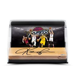 Kevin Love Signed Cavaliers 11x7x5 NBA Game Used Floor Piece Curve Display (UDA COA)