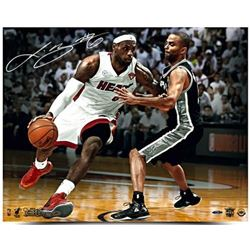 LeBron James Signed Heat  NBA Finals Match Up  LE 16x20 Photo with Tony Parker (UDA COA)