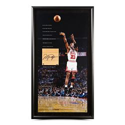 "Michael Jordan Signed Bulls 42x22 Custom Framed Game-Used Floor Piece  ""Storied"" Photo Display (UDA"