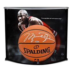 Michael Jordan Signed Spalding Basketball with Display Case (UDA COA)