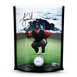 "Tiger Woods Signed ""Pebble Beach Hole No. 7"" 8x11x3 Range Driven Ball Curve Display (UDA COA)"
