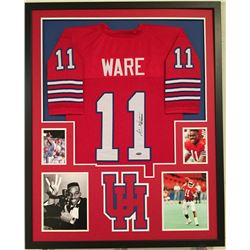 "Andre Ware Signed Houston Cougars 34x42 Custom Framed Jersey Inscribed ""89 Heisman"" (Tristar Hologra"