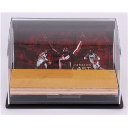 "Dwyane Wade Heat ""Banners Last Forever"" Game-Used Floor Piece with Custom Curve Display (UDA Hologra"