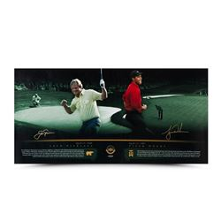 "Tiger Woods  Jack Nicklaus Signed ""Masterful"" 18x36 Photo (UDA COA)"