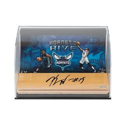 "Kemba Walker Signed Hornets ""Hive"" 7x11x5 Game-Used Floor Piece Curve Display (UDA COA)"