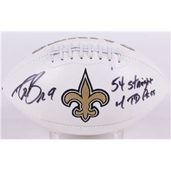 "Drew Brees Signed Saints Logo Football Inscribed ""54 Straight TD Pass"" (Brees Hologram)"