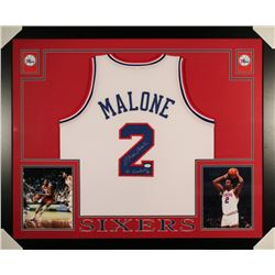 "Moses Malone Signed 79ers 35x43 Custom Framed Jersey Inscribed ""50 Greatest"" (JSA)"