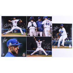 Lot of (5) Signed Cubs 8x10 Photos with (1) Chris Bosio, (1) Justin Grimm, (1) Felix Pena, (1) Pedro