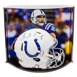 Andrew Luck Signed Colts Full-Size Authentic Pro-Line Speed Helmet With Custom Curve Display Case (P