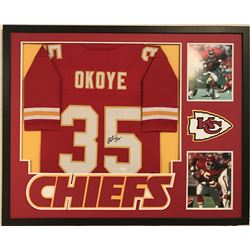 "Christian Okoye Signed Chiefs 34"" x 42"" Custom Framed Jersey (JSA COA)"