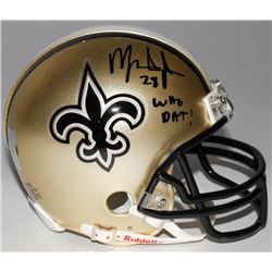 "Mark Ingram Signed Saints Mini-Helmet Inscribed ""Who Dat!"" (Ingram Hologram)"