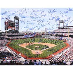 Phillies 16x20 Photo Signed By (55) with Steve Bedrosian, Danny Jackson, Al Holland, Greg Gross, Raw