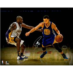 Stephen Curry Signed Warriors 16x20 Photo vs. Kobe Bryant (Fanatics)