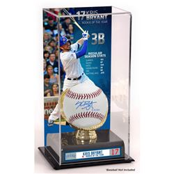 "Kris Bryant Signed Baseball Inscribed ""15 NL ROY"" with Rookie of the Year Display Case (Fanatics)"
