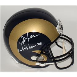 "Marshall Faulk Signed Rams Full-Size Helmet Inscribed ""Last To Wear 28"" (JSA COA)"