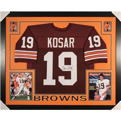 Bernie Kosar Signed Browns 35x43 Custom Framed Jersey (JSA COA)