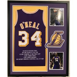 Shaquille O'Neal Signed Lakers 34x42 Custom Framed Career Highlight Stat Jersey (JSA COA)