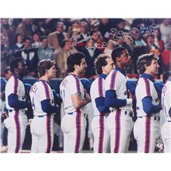 1986 Mets 16x20 Photo Signed By (6) With Gary Carter, Keith Hernandez, Darryl Strawberry, Lenny Dyks