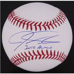 "Josh Hamilton Signed OML Baseball Inscribed ""2010 AL MVP"" (MLB Hologram)"