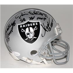 Jim Plunkett, Marcus Allen,  Fred Biletnikoff Signed Raiders Mini-Helmet with (3) MVP Inscriptions (