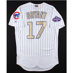 """Kris Bryant Signed Cubs Majestic Authentic Jersey Inscribed """"2016 WS Champs"""" (MLB  Fanatics Hologram"""