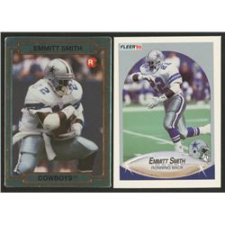 Lot of (2) Emmitt Smith Rookie Cards with 1990 Fleer Update #U40 RC  1990 Action Packed Rookie Updat