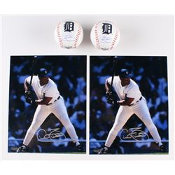 Lot of (4) Cecil Fielder Signed Tigers Items with 2 8x10 Photos  2 Logo Baseballs (Schwartz COA)