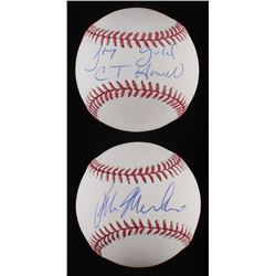 Lot of (2) Signed OML Baseballs with Ralph Macchio  C. Thomas Howell (Schwartz COA)
