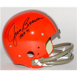 "Jim Brown Signed Browns Full-Size TK Suspension Helmet Inscribed ""HOF 71"" (Fanatics Hologram)"
