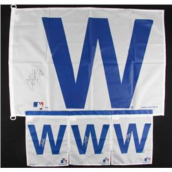 Lot of (4) Signed Cubs Flags with Matt Szczur, Dave Martinez, Pedro Strop (Schwartz COA)
