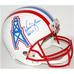 "Warren Moon Signed Oilers Full-Size Helmet Inscribed ""HOF 06"" (Moon Hologram)"