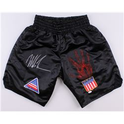 "Mike Tyson Signed Custom ""USA"" Boxing Shorts with Original Handprint (JSA LOA)"