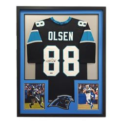 "Greg Olsen Signed Panthers 34"" x 42"" Custom Framed Jersey (Radtke COA)"