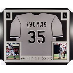 "Frank Thomas Signed White Sox 35"" x 43"" Custom Framed Jersey (JSA COA)"