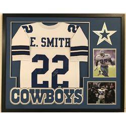 "Emmitt Smith Signed Cowboys 34"" x 42"" Custom Framed Jersey (Beckett COA)"