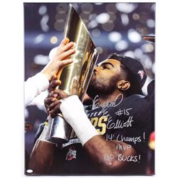 "Ezekiel Elliott Signed Ohio State Buckeyes 22.5"" x 29.5"" Giclee on Canvas Inscribed ""14' Champs!"" ""M"