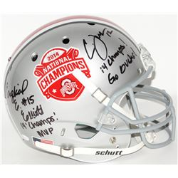 Ezekiel Elliott  Cardale Jones Signed Ohio State Buckeyes 2014 National Champions Full Size Helmet w