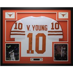"Vince Young Signed Texas Longhorns 35"" x 43"" Custom Framed Jersey Inscribed ""05 Nat'l Champs"" (PSA C"