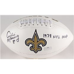 "Archie Manning Signed Saints Logo Football Inscribed ""1978 NFL MVP"" (Radtke COA)"