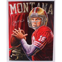 "Joe Montana Signed LE 49ers 30"" x 40"" Giclee on Canvas (Palm Beach COA)"