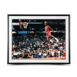 "Michael Jordan Signed Bulls ""1988 Slam Dunk Contest"" 30"" x 40"" Custom Framed Photo Display (UDA COA)"