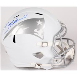 Julian Edelman Signed Patriots Custom Matte White Full-Size Speed Ice Helmet (JSA COA)