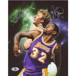 Larry Bird  Magic Johnson Signed 8x10 Photo (Beckett COA)