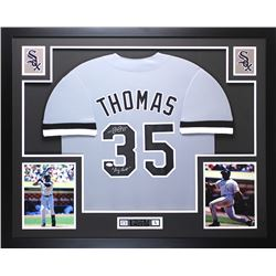 "Frank Thomas Signed White Sox 35"" x 43"" Custom Framed Jersey Inscribed ""Big Hurt"" (JSA COA)"