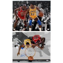 Lot of (2) Magic Johnson Signed Lakers 16x20 Photos With Michael Jordan (JSA COA  PSA COA)