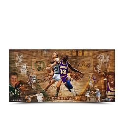 "Magic Johnson  Larry Bird Signed ""Arch Rivals"" LE 18x36 Photo (UDA COA)"