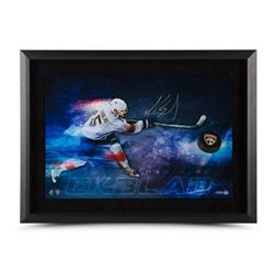 "Aaron Ekblad Signed Panthers ""Slap Shot Breaking Through"" 30"" x 22"" Custom Framed Hockey Puck Displa"